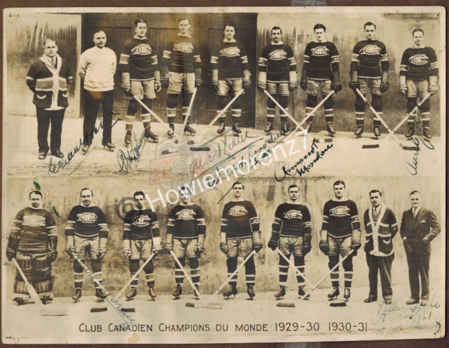 1929-31 Montreal Canadiens SIGNED Team Photo with 7 Signatures -imp