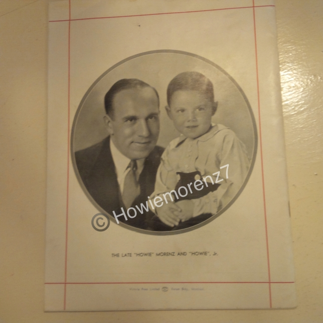 1937 Howie Morenz Memorial Game Program (12%22 x 9%22) BACK