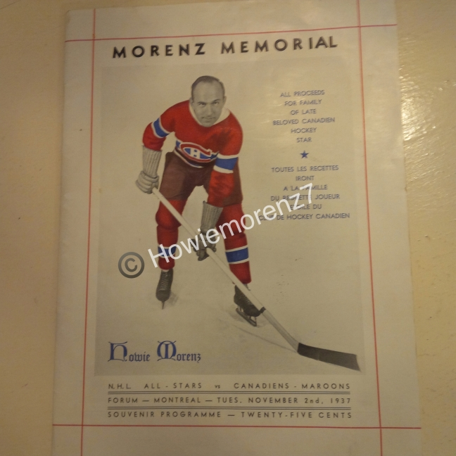 1937 Howie Morenz Memorial Game Program (12%22 x 9%22)-imp